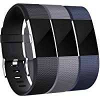 Rapidotzz Pack of 3 Replacement Belts/Straps Compatible for Fitbit Charge2 Bands Replacement Wristband Straps (Set 3)