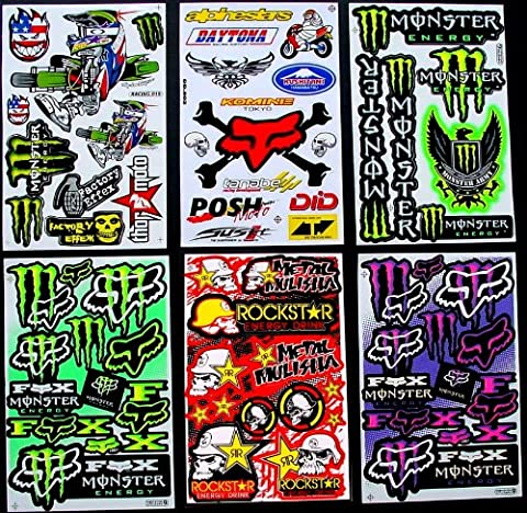 6 BLATT AUFKLEBER VINYL BKm1 MOTOCROSS STICKERS BMX BIKE PRE CUT STICKER BOMB PACK METAL ROCKSTAR ENERGY SCOOTER