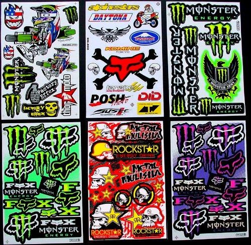 6 BLATT AUFKLEBER VINYL BKm1 MOTOCROSS STICKERS BMX BIKE PRE CUT STICKER BOMB PACK METAL ROCKSTAR ENERGY SCOOTER - Monster Aufkleber Sticker