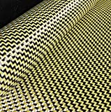 CARBON Fibre Cloth Yellow KEVLAR Fabric 2x2 DUAL Twill 50'' x 11''