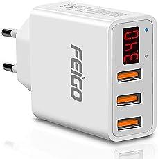 FEIGO Caricatore USB Multiplo Display Digitale, Alimentatore USB 3 Porte 5V 3.4A Carica Rapida, Caricabatterie USB da Muro per iPhone, iPad, Mac, Samsung, LG, HTC, Laptop, ecc.