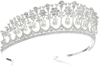 Sweetv Vintage Rhinestone Crown Royal Pearl Princess Diana Tiara For Women - Silver