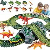 Haunen Auto Rennstrecken-Sets Dinosaurier Spielzeug, mit 144 Stück Flexible Strecken, 5 Dinosaurier, 1 Militärfahrzeuge, 2 Bäume, 1 Steingarten, 2 Verzweigte Orbitalschnittstelle, 2 Pisten