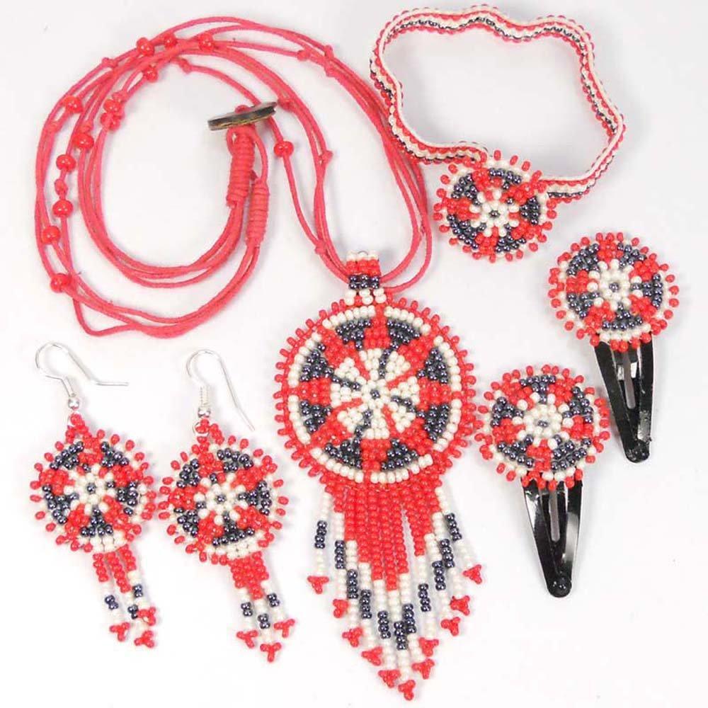 Viva Rosso Piastrine Bambini Capelli Clip Set di gioielli collana orecchini bracciale s51-ks-11