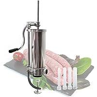 WilTec Poussoir à Saucisse Machine de Remplissage Capacité Acier Inoxydable de 3,5l pour la Chair de Saucisse