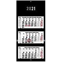 Calendario triennale 2021 Black I Calendario da parete 3 mesi I 33 x 70 cm I multilingue D/GB/F/ES I Planner annuale con…