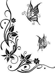 Dd Dotzler Design 041215 Klebe Folie Schmetterling Tattoo Tribal Blumen Ranke Ornament Auto Aufkleber Vinyl Folie Auto Dekor Aufkleber Folie Schwarz 43 X 57 Cm Auto