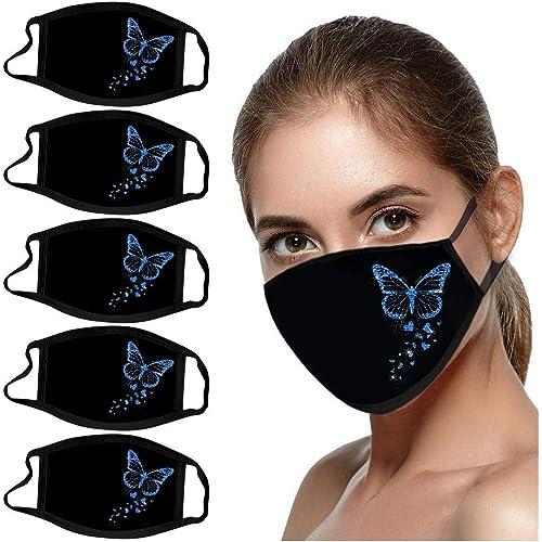 Mascherina per orecchie riutilizzabili e lavabili per adulti, 5 pezzi, con stampa a farfalla, antivento, anti-appannamento e anti-polvere (blu, 5 pezzi 18 x 13 cm)