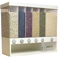 GJCrafts Distributeur de nourriture mural à 6 grilles, seau à riz avec grande capacité, boîte de rangement multifonction…