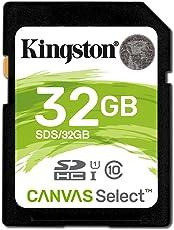 Kingston SD SDS/32GB Canvas Select Scheda SD, Velocità UHS-I di Classe 10 fino a 80MB/s in Lettura, 32 GB