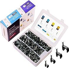 Kabelschelle Nagelschelle Schwarz Kabel Nagel SAMHUE 1100 stück Größen 4mm 6mm 8mm 10mm,Mit tragbarer PP Box