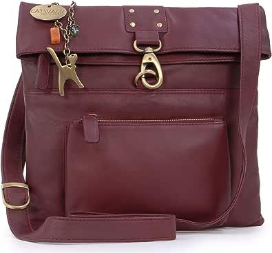 Catwalk Collection Handbags - Vera Pelle - Borse a Tracolla/Borsa a Mano/Messenger/Borsetta Donna - Con Ciondolo a Forma di Gatto - Dispatch
