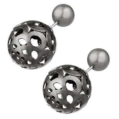Modeschmuck ohrringe perlen  Metall Doppel Kugel Perle Ohrschmuck Perlen Ohrstecker Zwei Kugeln ...