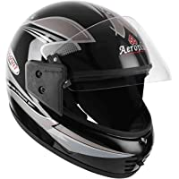 Aeroplus Smart (ISI) Full Face Helmet (580mm,M) (Black/Silver) with Plain Visor