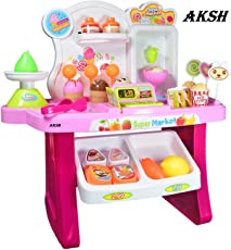 AKSH Sweet Shop Trolley Kitchen Cart Luxury Battery Operated with Music & LED Lights Ice Cream Trolley Shop Set for Kids Pretend Roll Play Sweet Cart Real Toy Play Set Learning & Educational Toys Set Birthday Gift Option for Girls & Boys 3+ Age, Multi Color (MINI MARKET)