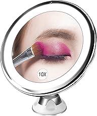 Specchio Ingranditore da Trucco con Luce LED, BESTOPE Specchio Cosmetico Illuminato Ingradimento 10X, con Potente Ventosa, Ruota di 360°, Perfetto come Regalo da Bagno e Utile Anche per Viaggio