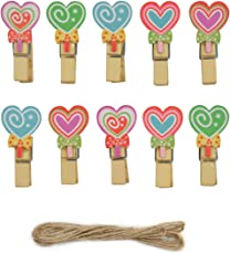 Asian Hobby Crafts Wooden Photo or Paper Clips Design - Candy Heart (Pack of 10)