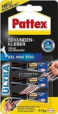 Pattex Sekundenkleber Gel Mini Trio / Lösungsmittelfreier Gel-Kleber / Transparent, tropffrei und wasserfest / 3 x 1g