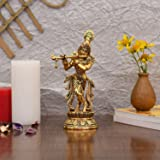 Collectible India Lord Krishna Idol Statue Krishna Idols Gold Plated Flute Playing Krishan Decorative Showpiece Figurine for