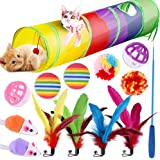 Innoo Tech Pet Cat Toy Set, Cute Mouse, Bell Ball Set, Tease Stick, Creative Pet Supplies Suit Collapsible Play Toy (Rainbow,