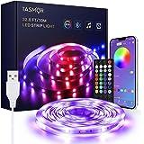 Ruban LED 10M, TASMOR Bande LED RGB USB Bluetooth, Contrôlé par APP du Smartphone, Auto-adhésif Synchroniser avec Musique, Mu