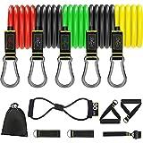 GUDEHOLO Elastici Fitness con Maniglie 12 Pz Set di Fasce di Resistenza, Gancio Porta, Cavigliere, per Bicipiti Elastici da P