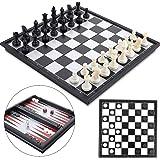 Peradix schackuppsättning Magnetiska rutspelsbackgammon 3-i-1, schackmagnetiska resefällbara schackbrädor för familjeresor