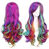 Ateid 70 cm Largo Peluca ondulada Multicolor de Cosplay y Gorra de Peluca para Mujer