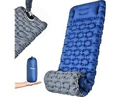 OCOOKO Self Inflating Camping Mat - Widen & Thicken Sleeping Mat Pad with Pillow Waterproof Folding Foot Pump Camp Mattress f