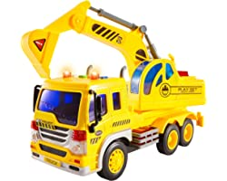 HERSITY Kids Toy Digger, Truck Lorry Toys Construction Vehicles with Lights and Sounds Cars Educational Toys Gifts for Childr