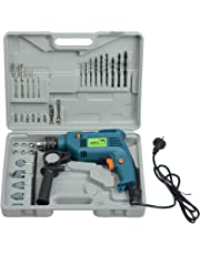 CAMEL BRAND 13 mm 500 W Impact Drill Machine with Reversible Function, 100 and more Accessories (Blue)
