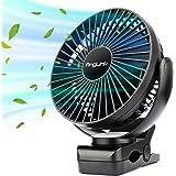 AngLink 40H 5000mAh Ventilateur à Clipper, Ventilateur USB de Table Portatif avec Batterie Rechargeable Silencieux 5000mA, 3