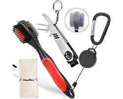 SILENTCARE Golf Accessories, Multifunctional Golf Ball Marker, Golf Club Brush and Golf Towel Kit, Foldable Divot Repair Tool