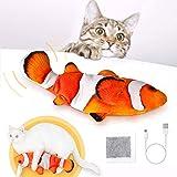 Peteast Juguetes para Gatos, Juguetes de Hierba gatera de Peces con Movimiento eléctrico realistas, Juguetes interactivos de