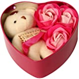 HOMOKART Artificial Rose Bud Fragrant Petal Soap, Teddy, Heart Box, Tag (Red, 1 Teddy, 3 Rose Bud Petal Soap, 1 Tin Box, 1 Ta
