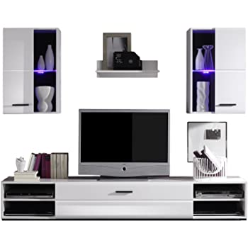 CARO-Möbel Wohnwand Anbauwand NELE in weiß hochglanz und mit LED ...