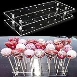 Goabroa Cake Pop Display Stand, 21 Hole Clear Acrylic Lollipop Holder Baby Showers Birthday Parties Anniversaries Halloween C