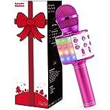 Fede Microphone Karaoké Sans Fil Bluetooth avec Lumière LED Multi couleur, Micro à Main Portable Haut-parleur pour Enfants/Ad