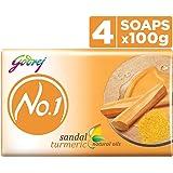 Godrej No.1 Bathing Soap, Sandal & Turmeric, 100g (Pack of 5)