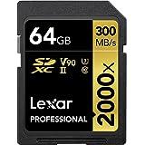 Tarjeta Lexar Professional 2000x 64GB SDXC UHS-II sin Lector, hasta 300MB/s de Lectura (LSD2000064G-BNNAG)