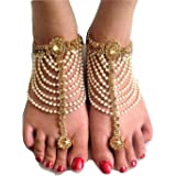 Womensky Antique Traditional Kundan Pearls Stone Fancy Stylish Gold Plated Payal/Anklet/Pajeb/Payjeb/Painjan/Ghungroo/Anklet