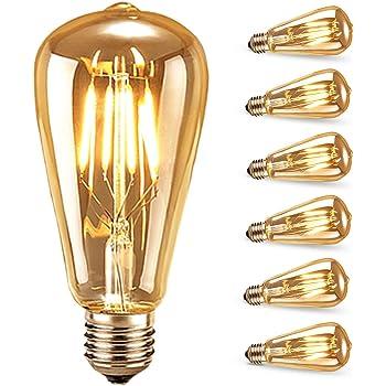Edison Vintage Glühbirne,led Lampe Warmweiß E27 Retro Antike Außenstrahler & Flutlichter 6 Stück Garten & Terrasse