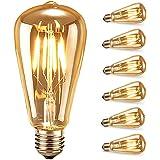Ampoule LED Edison,Samione Lampe Décorative Ampoules à incandescence Rétro Edison Ampoule Antique Lampe 6 Pack [Classe énergé