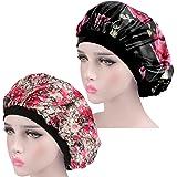 KissDate 2 PCS Satin Bonnet, AdjustableSilk Night Sleep Cap, Sleeping Head Cover with Wide Elastic Band, Hair Loss Cap for W