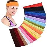 YMHPRIDE 18 Stuks Sport Hoofdband handdoek Absorberen Zweet Kleurrijke Fitness haarband Stretchy Band Haarband voor Meisjes D