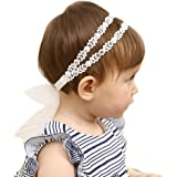 Baby Girl Super Elastic Headband,Cotton Lace Toddler Hair Band,Infant Soft Turban Hair Accessories Set (6-24 months, white)