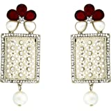 Zivom® Designer American Diamond Ruby Red Pearl Rhodium Long Earring For Women