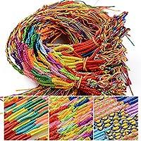60pcs Pulseras Trenzadas Hilo de Amistad Colores Hechas a Mano para Muñeca Tobillo Pelo Fiesta (3 Diseños, Color al Azar)