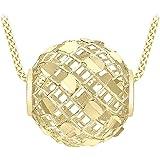 Carissima Gold Collana da Donna in Oro Giallo 9ct - Pendente con Maglia Diamantata - 46cm