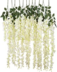 12pcs Artificial Silk Wisteria Vine Ratta Silk Hanging Flower Wedding Decor,White